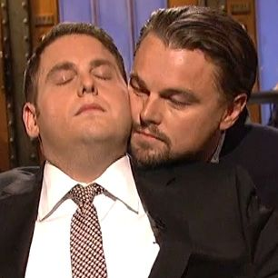 "Leo DiCaprio crashes Jonah Hill's SNL monolouge to reenact Titanic's famous ""I'm flying"" Jack and Rose scene. Hilarious!"
