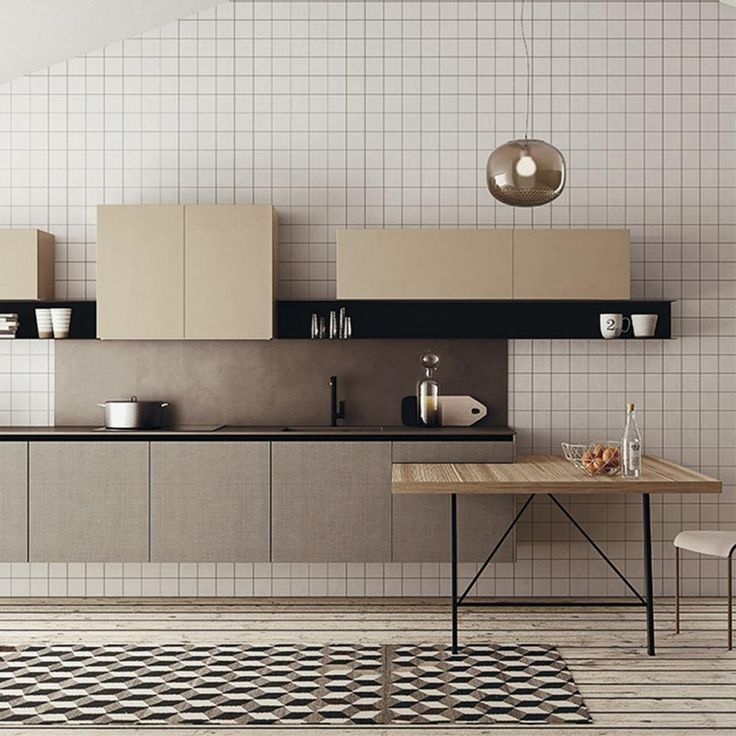 Kitchen against a wall with small, square tiles all-over
