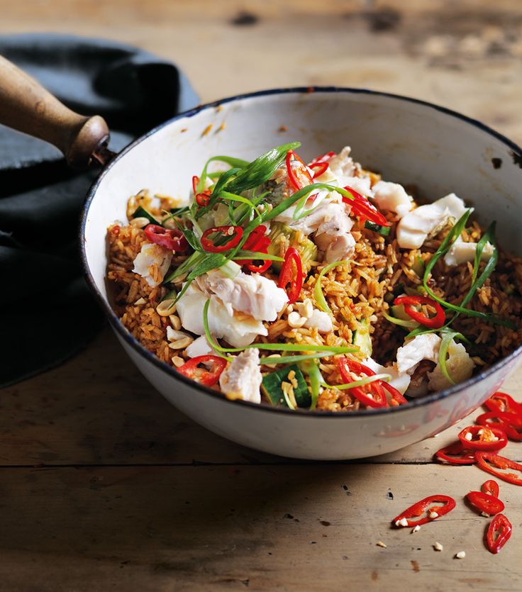 Nasi Goreng with flaked snapper July 2013 pg 91 Recipe Warren Mendes Styling David Morgan Photography Ben Dearnley