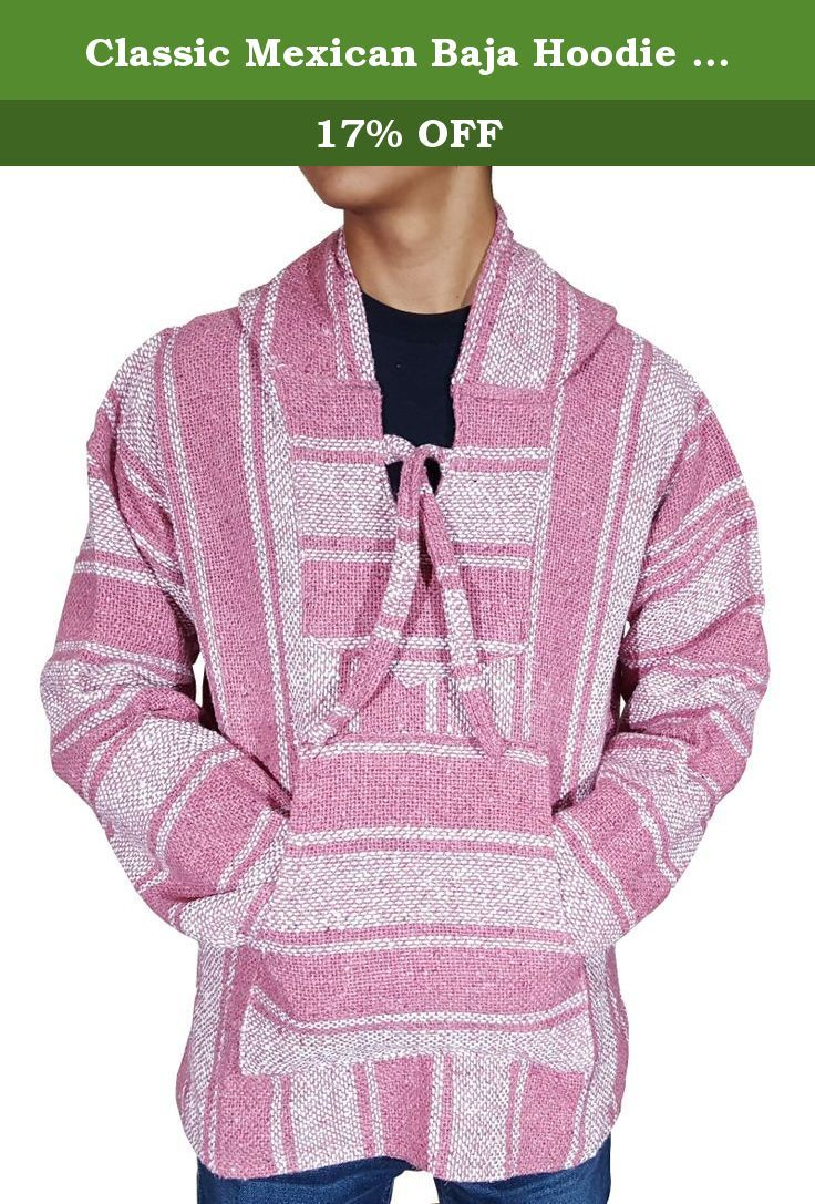 """Classic Mexican Baja Hoodie Pullover Poncho (Pink XL). Made popular with the hippie and surf cultures of Baja California in the 70s, these classic Baja Hoodies,""""Jergas"""" have become one of the most popular Mexican style products of all time. Not only are the great looking, they are soft, warm, comfortable, durable, and made from 100% recycled fibers. They feature the traditional """"kangaroo"""" pocket pouch perfectly placed to keep your hands warm and conveniently hold all of your essential…"""