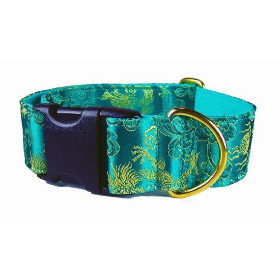 Fancy Dog Collar Custom Dog Collars Emerald by KnineCouture