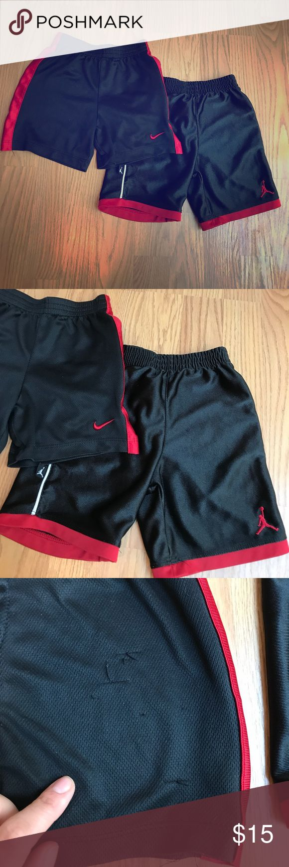 Toddler Boys Nike & Jordan Basketball Shorts 2 for 1 deal! Toddler Boys Nike and Jordan basketball shorts. Both shorts are black and red. The Nike shorts have a couple snags. Nike Bottoms Shorts