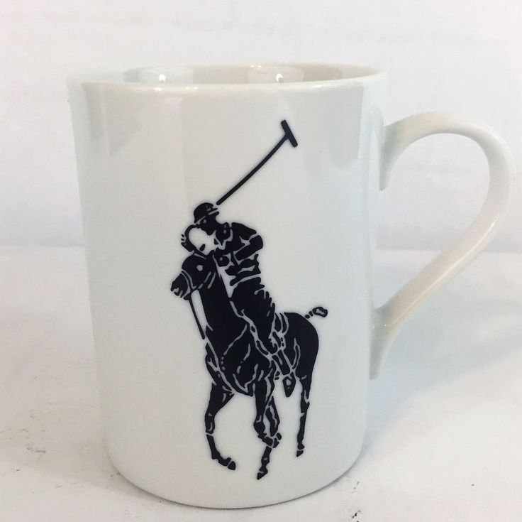 Ralph Lauren Mug Polo Player Pony Horse Coffee Cup Navy Blue on White #RalphLauren