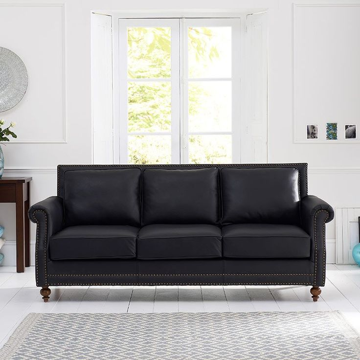 Perfect Hadley Black Leather Sofa With 2 Cushions (2/3 Seater) Part 23