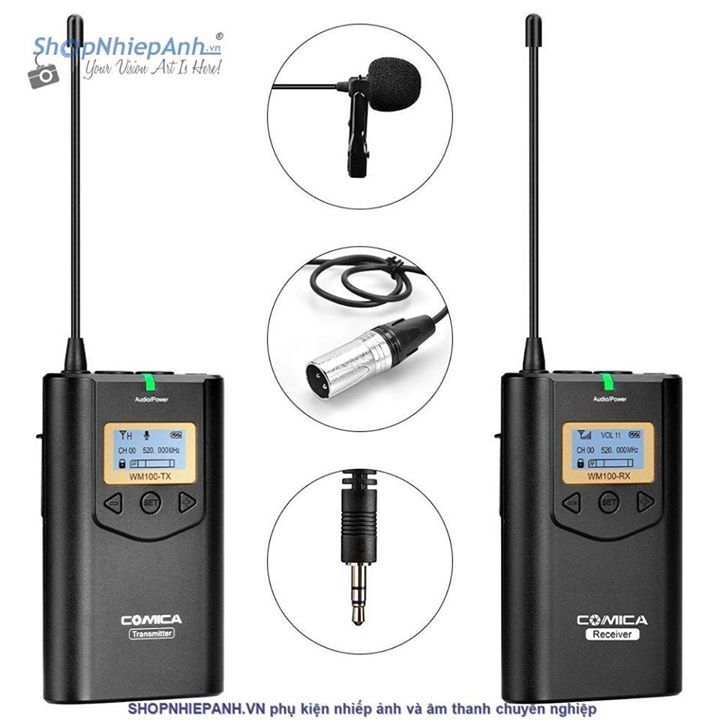 MICRO THU ÂM WIRELESS UHF COMICA CVM-WM100 Sản phẩm micro wireless chuyên nghiệp COMICA CVM-WM100 với nhiều đặc tính nổi trội hơn các dòng sản phẩm hiện nay trên thị trường 48 Channels for Multiple Devices Work Together. Working Distance Up to 100m without any staccato; (In Open Area) RF Signal Strength Adjusted and Local Audio Test in Transmitter End. Lattice LCD Display, High Resolution;. Muting Mode(red light keeps on). Real-time Audio Status Monitor, Real-time Audio Monitor and 16 Steps…