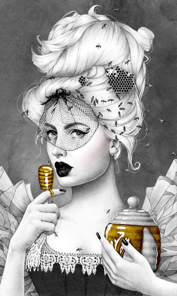 """Queen Bee"" Ballpoint Pen Drawing by Morgan Davidson"