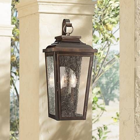Irvington manor 19 high bronze outdoor wall light 2n095 lamps plus