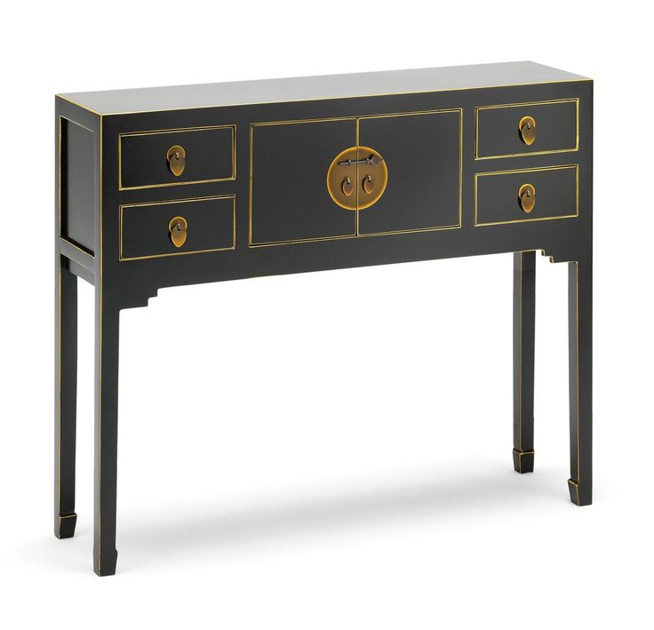 The Nine Schools Qing Black and Gilt Small Console Table