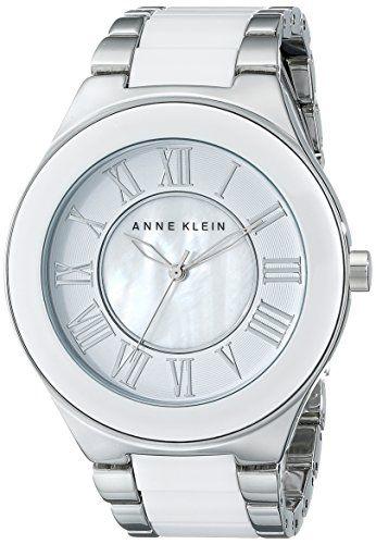 Anne Klein Women's AK/1665WTSV Silver-Tone and White Ceramic Bracelet Watch