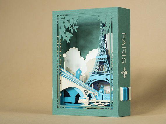 Pop up card France Paris Eiffel Tower Love Unique Christmas