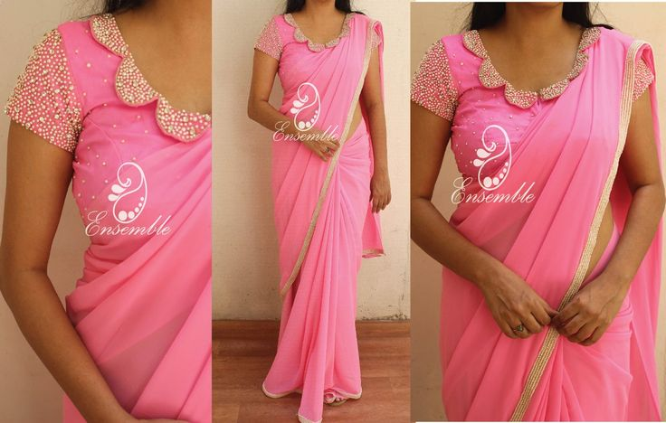 EN 379Candy pink georgette saree finished with pearl borderBlouse- as in the picture(stitched)Price- rs 6400NOTE:Actual colors might vary from the images you see on your screen due to your screen settings brightness levels etc. Please refer to the color description.To place order either mail us at ask.ensemble@gmail.com or whatsapp at 9840485135*COD available all over india 20 April 2017
