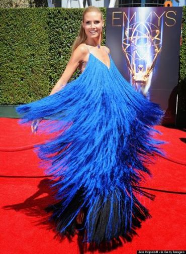 My LOL for the day:  Heidi Klum inexplicably dressed as a car wash brush