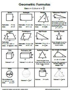 area and volume formulas for geometric figures pdf