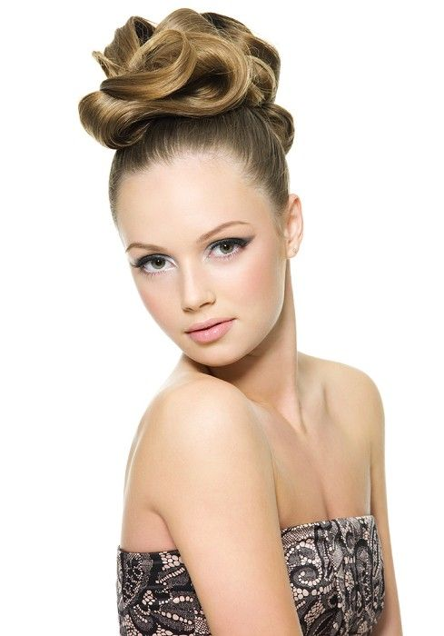 long brown straight coloured updo top-knot bridal wedding Womens hairstyles for women