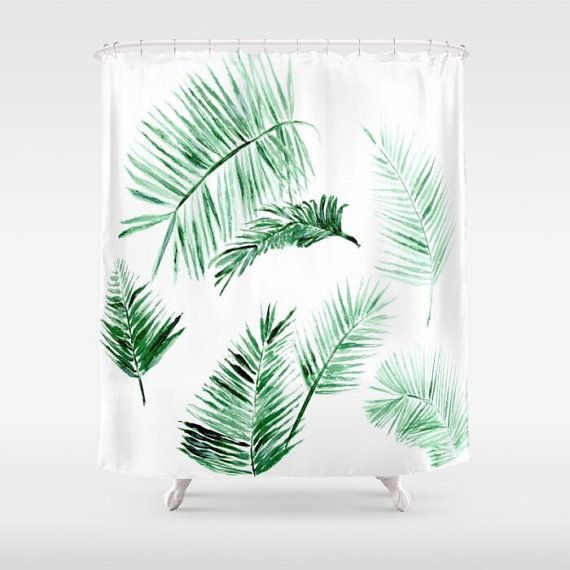 This is a shower curtain with my design printed on it. The shower curtain has a 12 button-hole top, making it easy to hang. It is 100% polyester and printed in the USA. Size: 71x74  Care:  - Machine wash and dry  Please note: Shower curtain liner, curtain rod, and hooks are not included.  >> Also available in light pink:  https://www.etsy.com/listing/482933533/blush-pink-palm-leaf-shower-curtain-leaf?ga_search_query=pink+leaf+curtain&ref=shop_items...