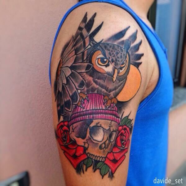 Owl and Skull by Davide Set from Italy