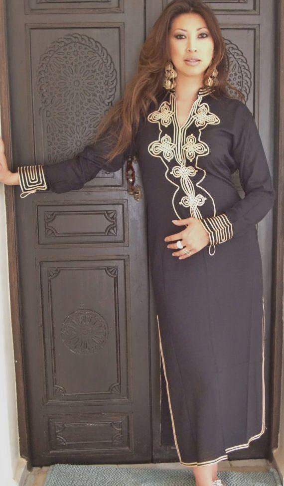 Noir caftan marocain de Caftan - Aisha Style-vêtements de détente, resortwear, spa robe, très bien pour la Saint-Valentin, anniversaires, cadeaux de maternité ou lune de miel