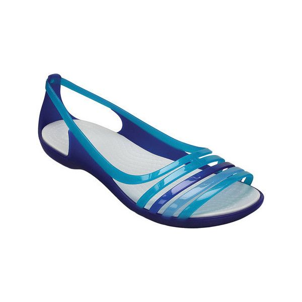 Women's Crocs Isabella Huarache Flat ($45) ❤ liked on Polyvore featuring shoes, flats, casual, casual shoes, crocs shoes, turquoise flats, crocs flats, open toe flat shoes and t-strap flats