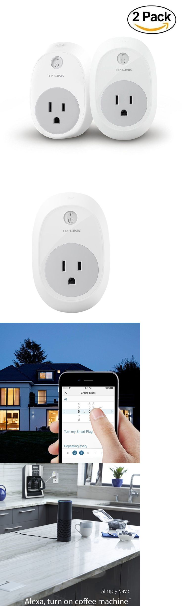 Home Automation Modules: Tp-Link Smart Home Plug Outlet No Hub Wi-Fi Control Devices W/ Alexa (2 Pack) BUY IT NOW ONLY: $79.99