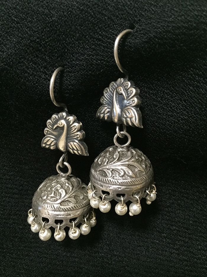 Peacock Pearl Silver Jhumkis