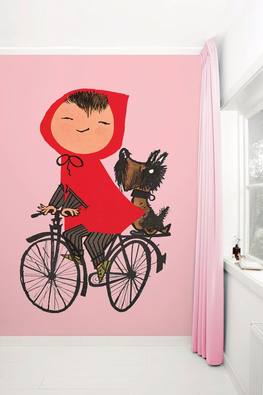 Fotobehang van KEK Amsterdam - Wallpaper Story 037 'Riding My Bike' door Fiep Westendorp