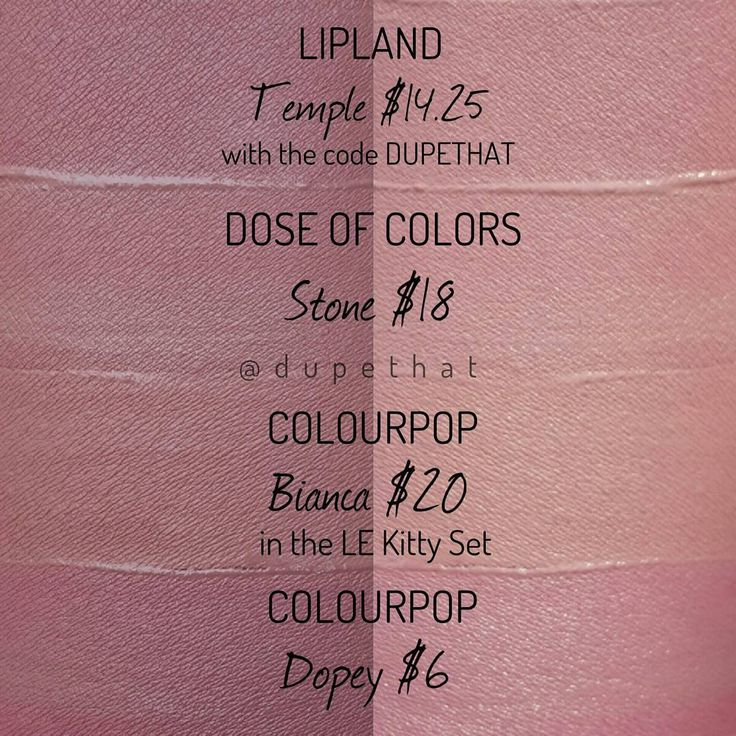 A few more comparisons of some highly sought after shades! Everyone wish extra hard that ColourPop @colourpopcosmetics Dopey restocks again soon! LipLand Temple, Dose Of Colors Stone, ColourPop Bianca, ColourPop Dopey. As always, the swatches are labeled correctly - photos on the left and right are the same swatches in different lighting. #lip #makeup #lipstick