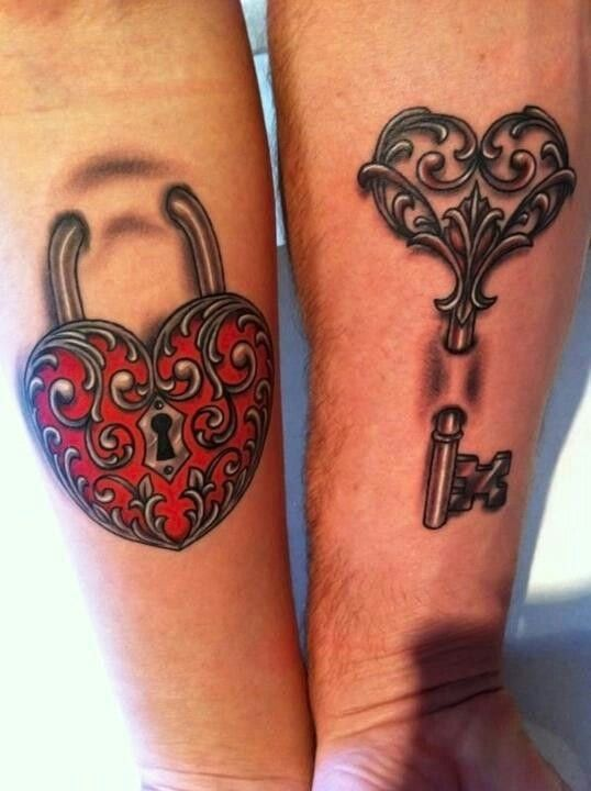 These intricately beautiful tattoos of a lock and key are done in the 3D technique and make for an ideal couple tattoo.