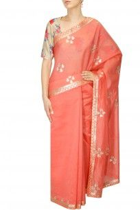 Peach gota patti applique work chanderi saree with gold floral blouse