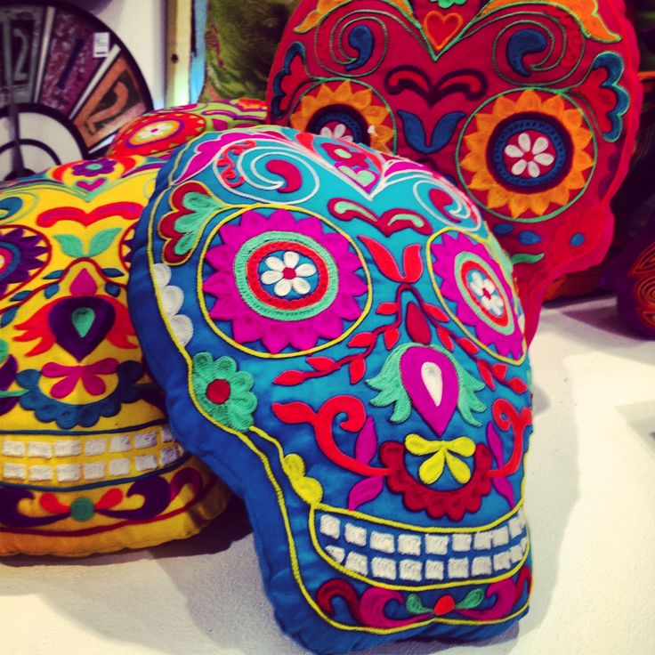Embroidered sugar skull pillows