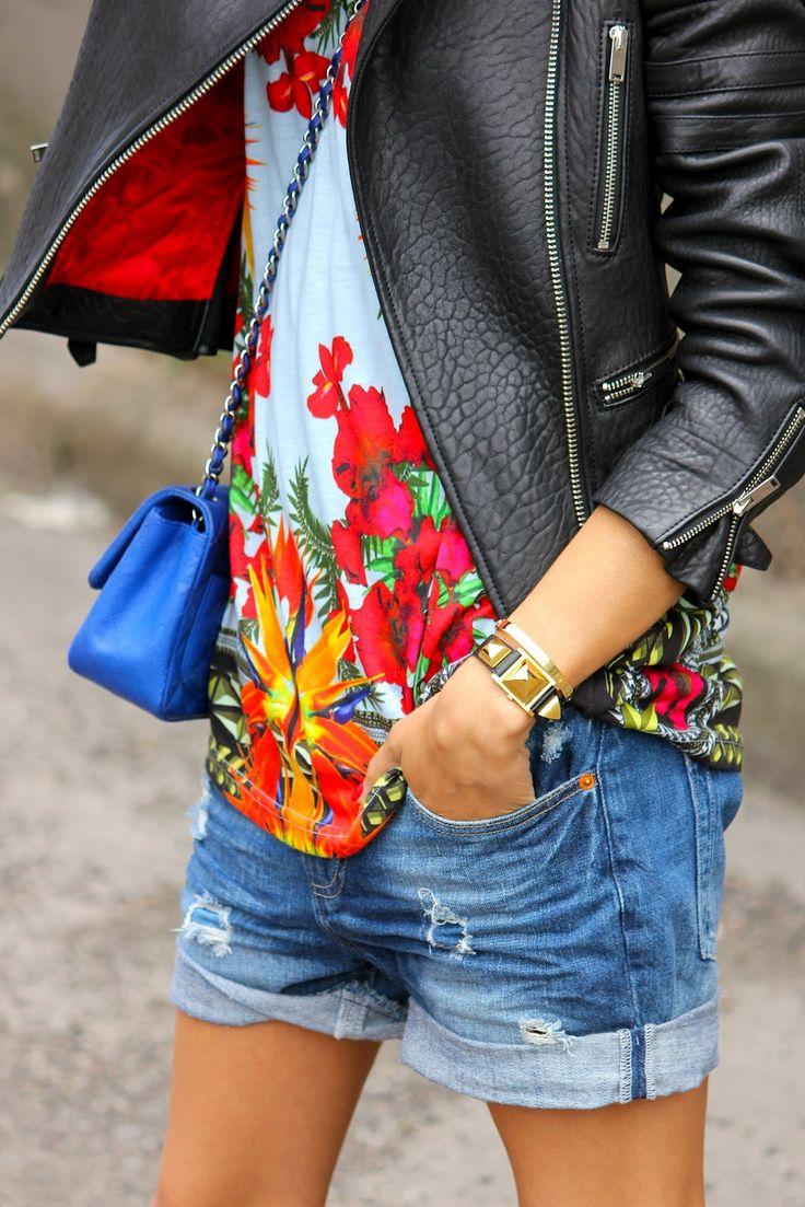 Givenchy floral shirt, Celine leather jacket, Chanel bag, Zara shorts