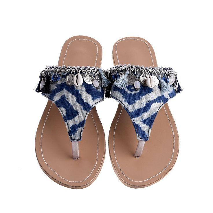 SANDAL IN BLUE COLOR W/ SHELLS - Sandals