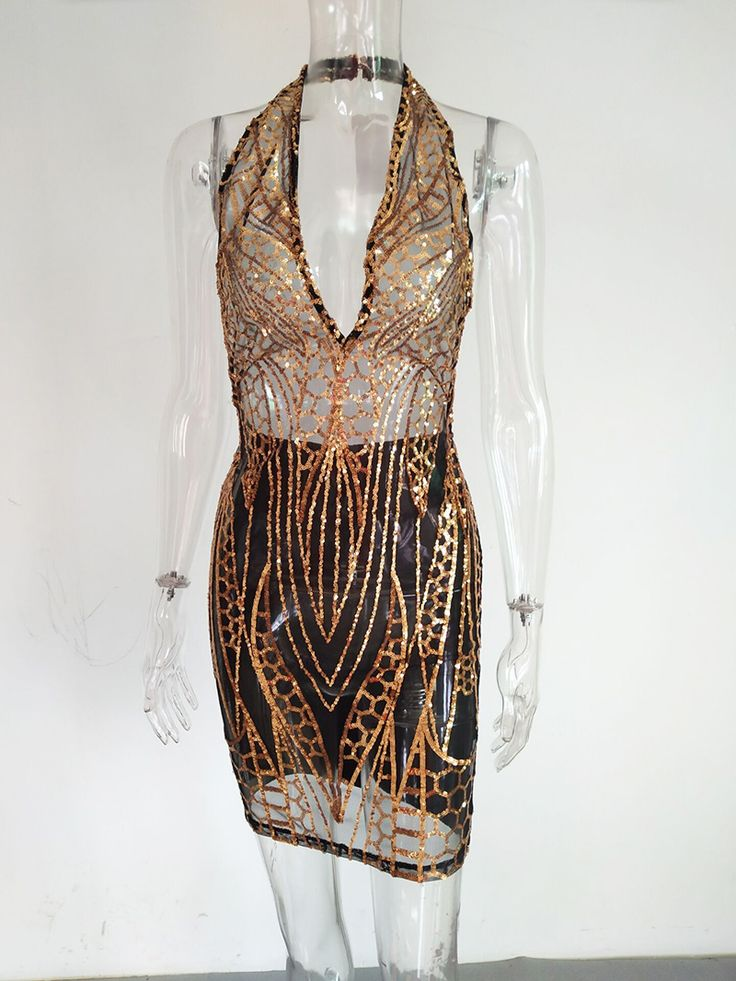 Aliexpress.com : Buy Bonnie Forest Vintage Halter Neck Mesh Dress Glitter Womens Sexy Open Back Sequins Detail Celebrity Bandage Party Dress Clubwear from Reliable mesh dress suppliers on Bonnie Forest Store