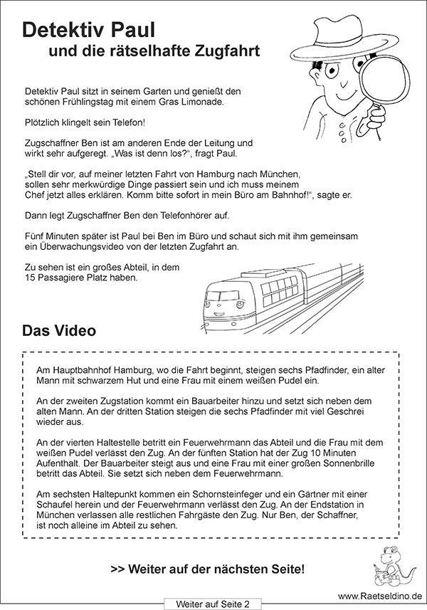 Die rätselhafte Zugfahrt - Eine Detektivspiel für Kinder als gratis Rätselvorlage