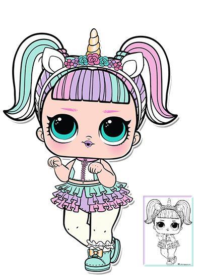 Unicorn Series 3 L.O.L Surprise Doll Coloring Page