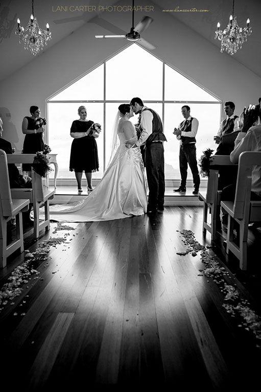 First kiss, wedding ceremony Weddings at Tiffany's Maleny. www.lanicarter.com