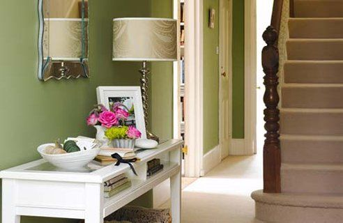 Hallway Design Apple green walls