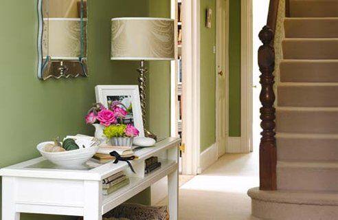 Hallway Design Apple green walls