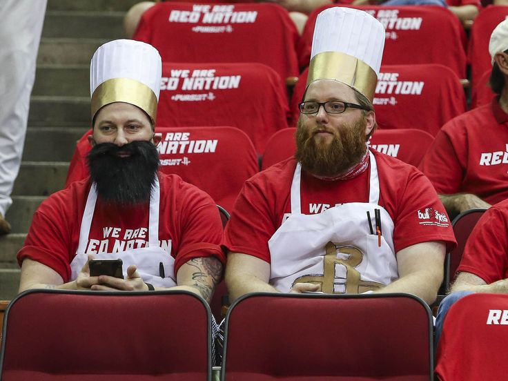 Costumed fans wait for the start of Game 2 of an NBA playoff basketball game between the Houston Rockets and the Los Angeles Clippers at Toyota Center on May 6 in Houston.  Troy Taormina, USA TODAY Sports