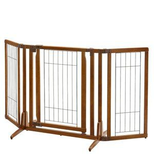 Our Finest Pet Gate Yet! Our always-popular free standing gate is now higher, features a walk-thru locking gate door, as well as adjustable side panels! The innovative Premium Plus Freestanding Pet Ga
