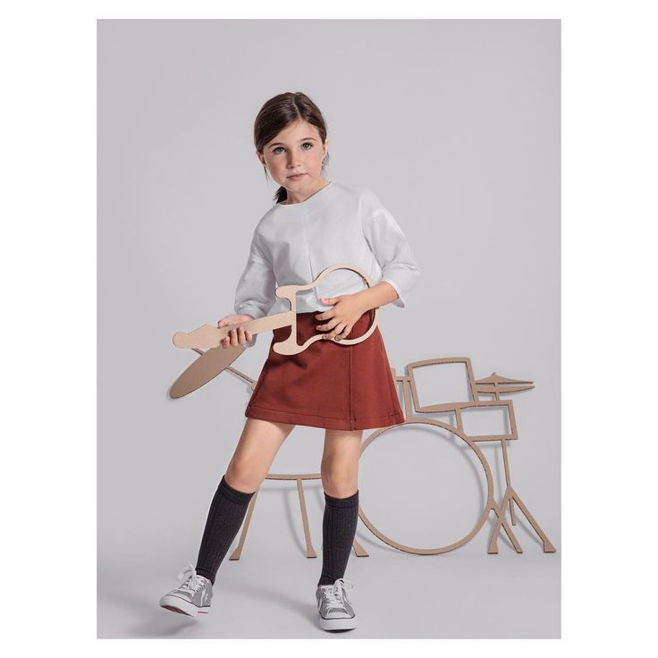 Winter Notes Collection by Annice | Minimal kids wear White blouse & Knit skirt