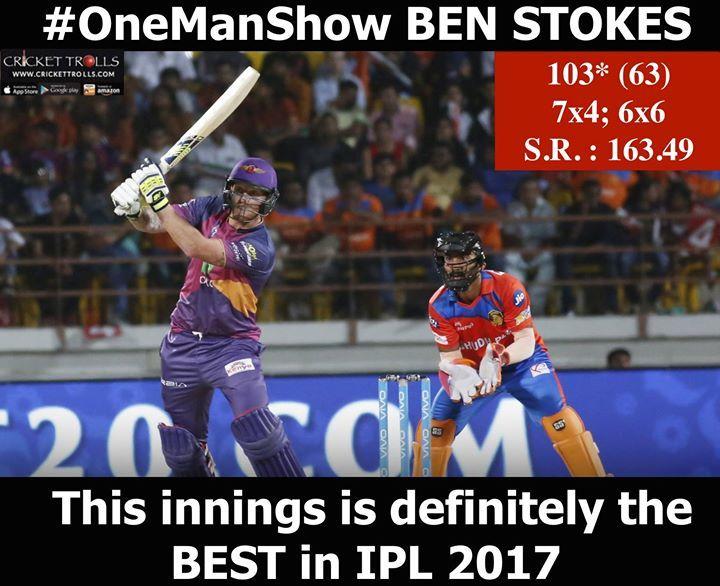 CHAMPION's knock from Ben Stokes #IPL2017 #GLvRPS For more cricket updates visit: http://ift.tt/2gY9BIZ - http://ift.tt/1ZZ3e4d