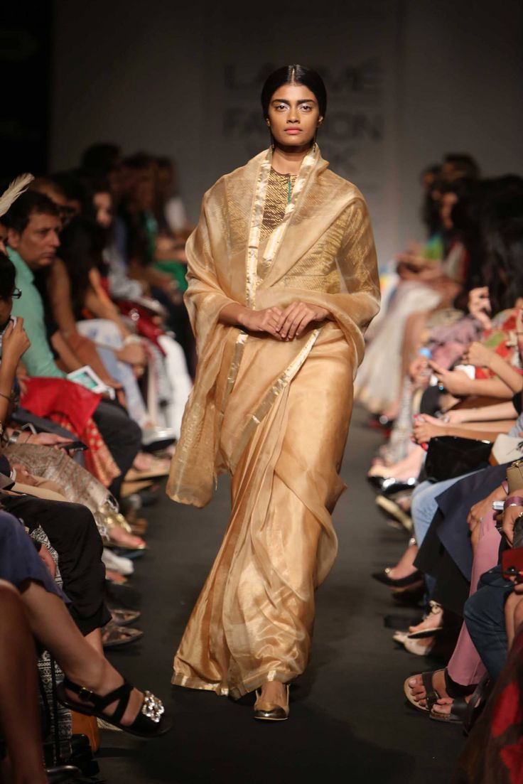 Sanjay Garg Gold #Saree At Lakme Fashion Week 2014.
