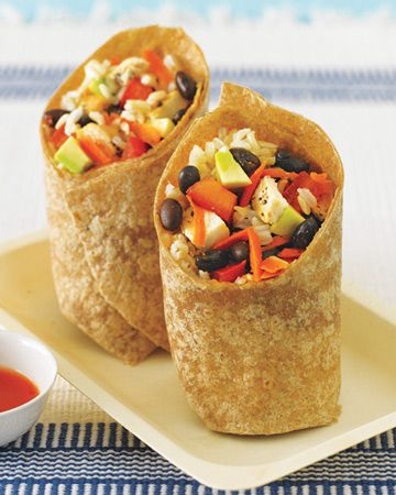 Black Bean, Avocado, Brown Rice, and Chicken Wrap recipe
