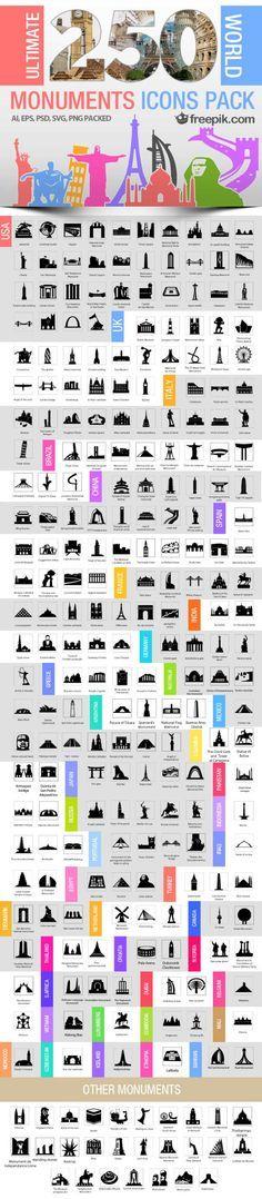 Iconos de monumentos mundiales para descargar en forma gratuita y que se pueden editar en prácticamente todos los programas de edición de imágenes y de