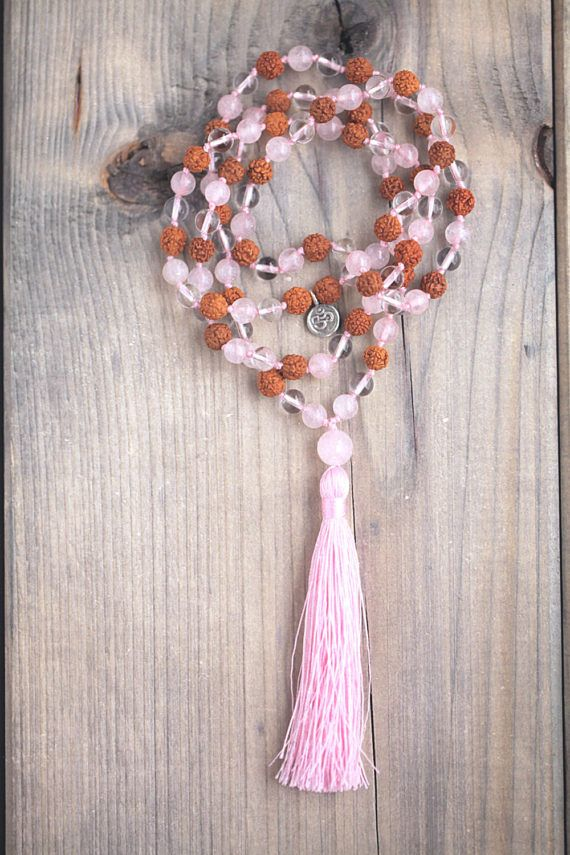 Hand knotted Mala/108 beads/Rudraksha/Rose Quartz/Clear