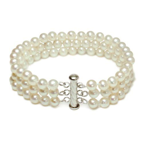 """Sterling Silver 3-Strand White A Grade 5.5-6mm Freshwater Cultured Pearl Bracelet, 8"""" Amazon Curated Collection. $55.00. Made in China. Pearls may have been treated to improve their appearance or durability and may require special care.. No ultrasonic. Save 65%!"""