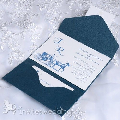 cheap vintage carriage blue pocket wedding invitations iwps081 wedding invitations online invitesweddingscom - Vintage Wedding Invitations Cheap