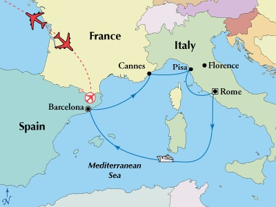 8 day tour with 5 day western med cruise. May departure only $600/person