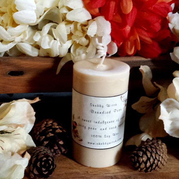 Brandied Pear Pillar Candle by TheShabbyWitch on Etsy, $9.99