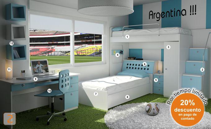 Mueble: dormitorio-genova-habitacion-muebles-juveniles-colores -  AGIOLETTO, Muebles Infantiles, Muebles Juveniles